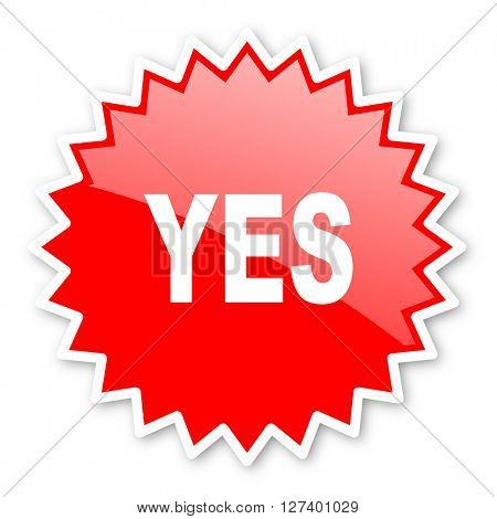 yes red tag, sticker, label, star, stamp, banner, advertising, badge, emblem, web icon