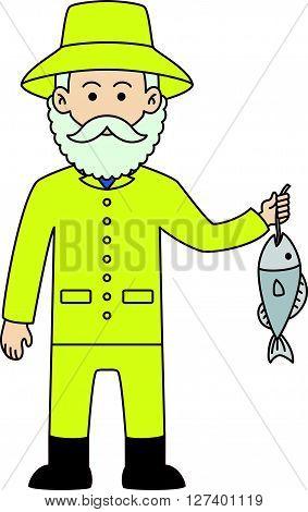 Fisher man cartoon doodle .Eps 10 editable vector Illustration design