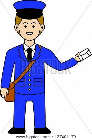 Postman doodle cartoon .Eps 10 editable vector Illustration design