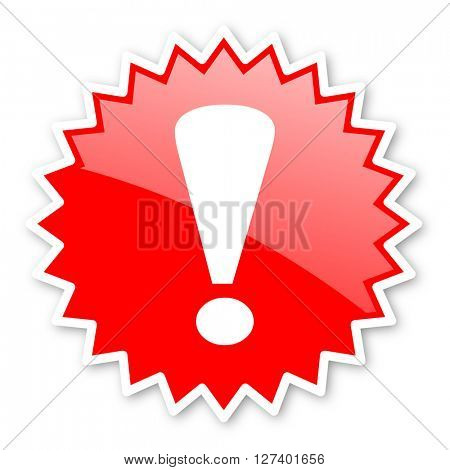 exclamation sign red tag, sticker, label, star, stamp, banner, advertising, badge, emblem, web icon
