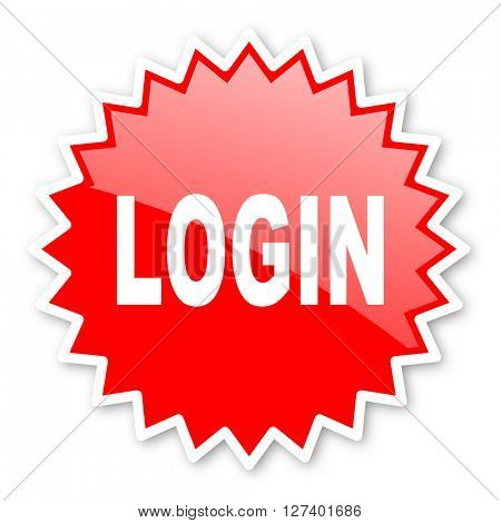 login red tag, sticker, label, star, stamp, banner, advertising, badge, emblem, web icon