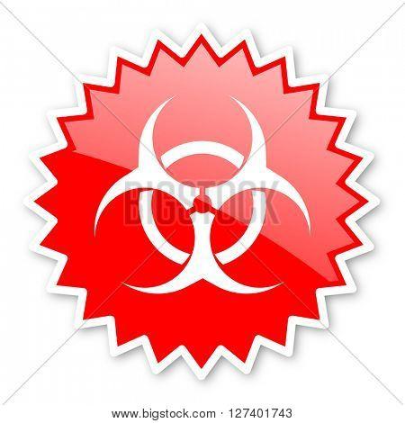 biohazard red tag, sticker, label, star, stamp, banner, advertising, badge, emblem, web icon