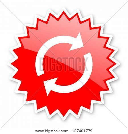 reload red tag, sticker, label, star, stamp, banner, advertising, badge, emblem, web icon