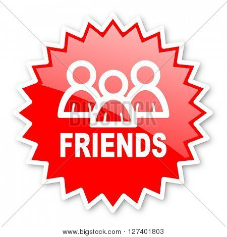 friends red tag, sticker, label, star, stamp, banner, advertising, badge, emblem, web icon