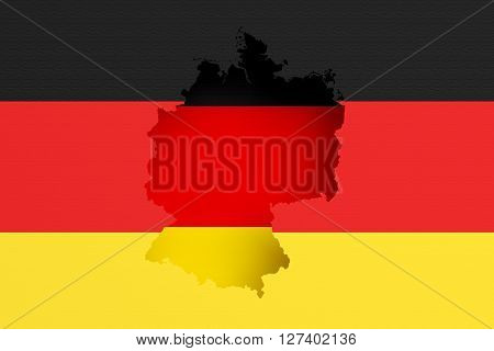 Silhouette Of Germany Map With Flag