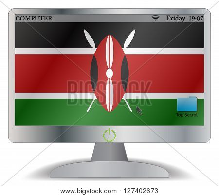 Kenya Computer Screen With On Button