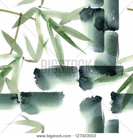 Watercolor and ink illustration of bamboo in style sumi-e u-sin. Oriental traditional painting. Seamless pattern.