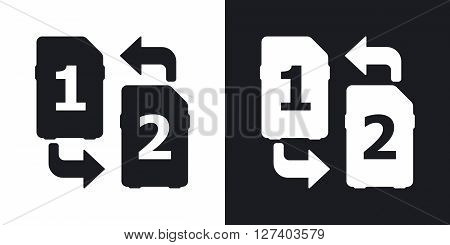 Change SIM cards icon stock vector. Two-tone version on black and white background