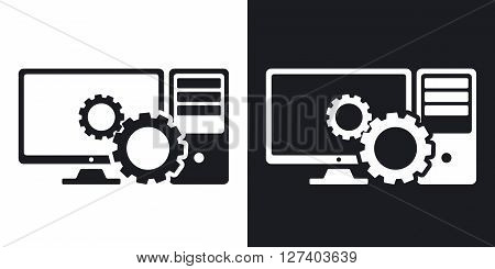 Computer settings icon stock vector. Two-tone version on black and white background