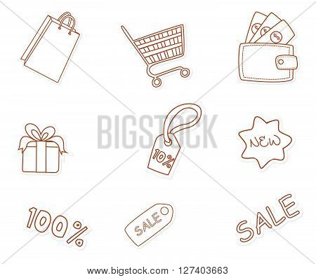 Fashion Shopping Object Hand Drawn Sketch Doodle .eps10 editable vector illustration design