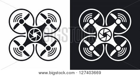 Drone with camera icon vector. Two-tone version on black and white background