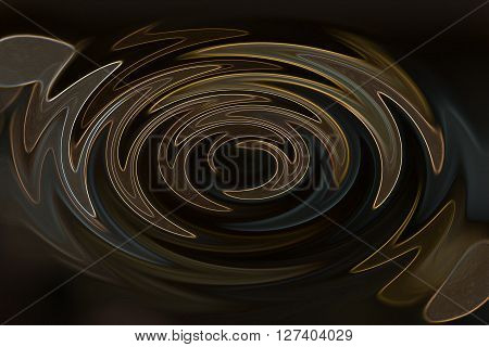 Wonderful Twist Or Wave Line Brown And Gold Millennium On Dark Background