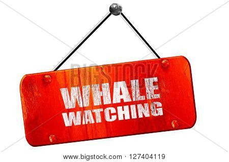 whale watching, 3D rendering, red grunge vintage sign