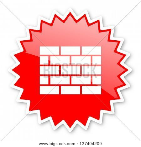 firewall red tag, sticker, label, star, stamp, banner, advertising, badge, emblem, web icon