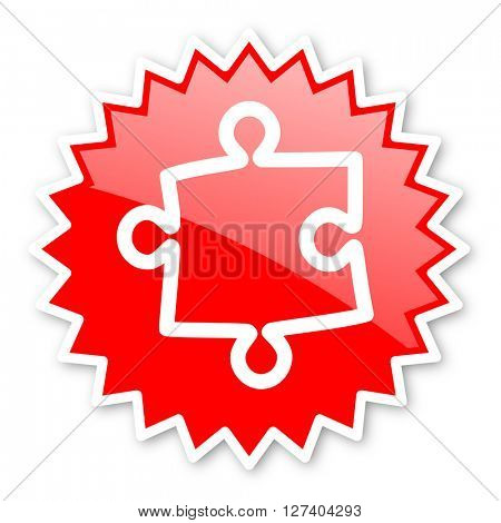 puzzle red tag, sticker, label, star, stamp, banner, advertising, badge, emblem, web icon