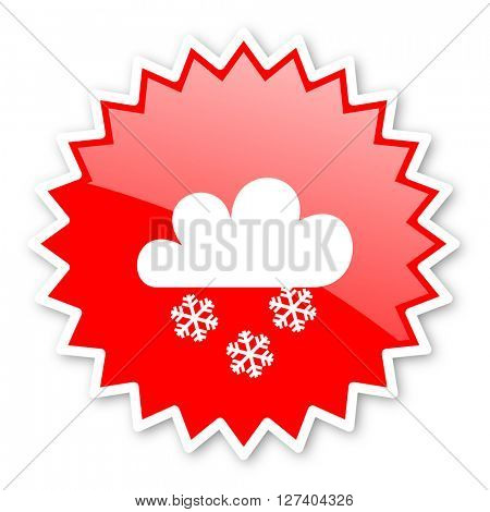 snowing red tag, sticker, label, star, stamp, banner, advertising, badge, emblem, web icon