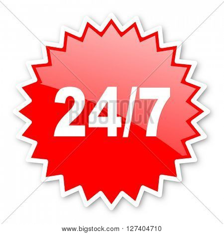 24/7 red tag, sticker, label, star, stamp, banner, advertising, badge, emblem, web icon