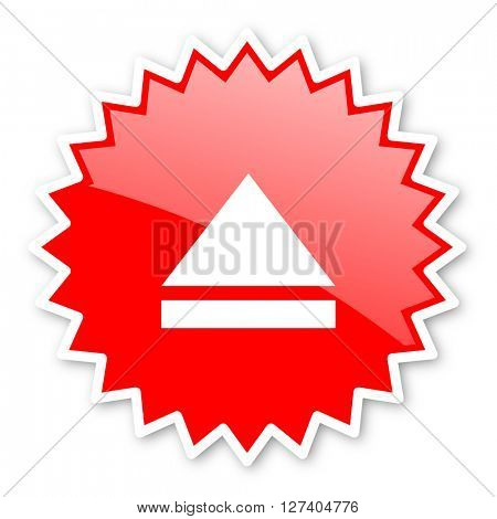 eject red tag, sticker, label, star, stamp, banner, advertising, badge, emblem, web icon