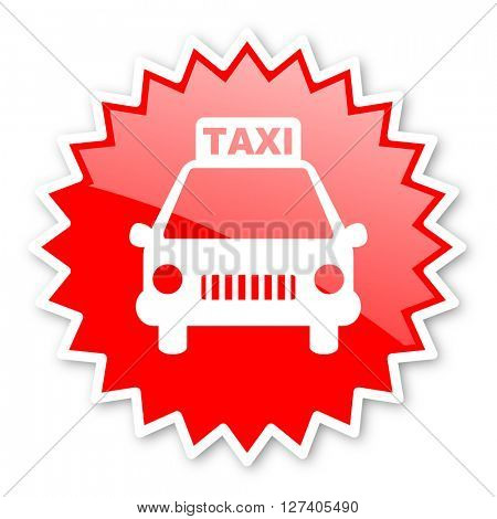 taxi red tag, sticker, label, star, stamp, banner, advertising, badge, emblem, web icon