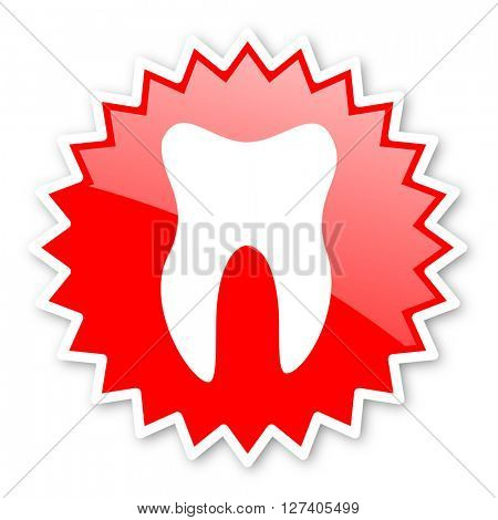 tooth red tag, sticker, label, star, stamp, banner, advertising, badge, emblem, web icon