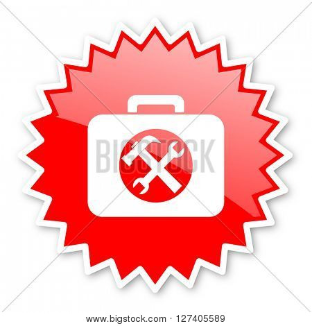 toolkit red tag, sticker, label, star, stamp, banner, advertising, badge, emblem, web icon