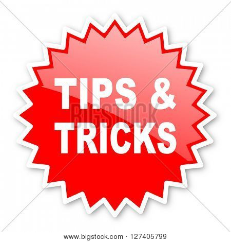 tips tricks red tag, sticker, label, star, stamp, banner, advertising, badge, emblem, web icon