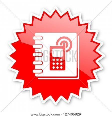 phonebook red tag, sticker, label, star, stamp, banner, advertising, badge, emblem, web icon