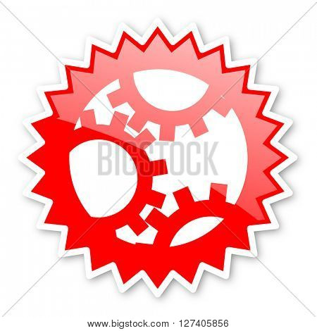 gear red tag, sticker, label, star, stamp, banner, advertising, badge, emblem, web icon