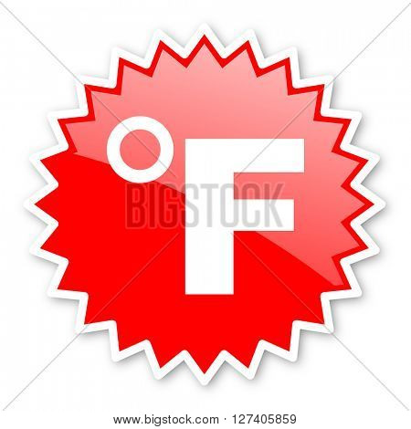 fahrenheit red tag, sticker, label, star, stamp, banner, advertising, badge, emblem, web icon