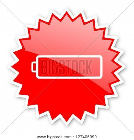 battery red tag, sticker, label, star, stamp, banner, advertising, badge, emblem, web icon
