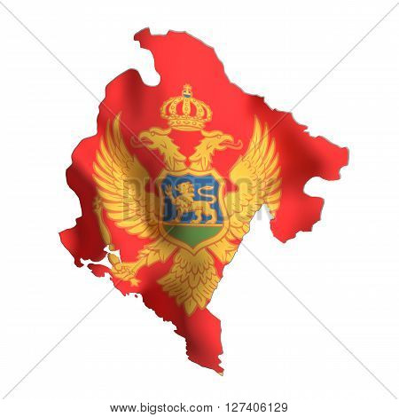 Silhouette Of Montenegro Map With Flag
