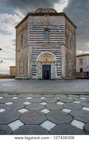 Italy, Tuscany, Volterra, Baptistery Of San Giovanni Battista