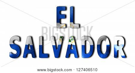 El Salvador word with a beveled flag texture on an isolated white background with a clipping path with and without shadows
