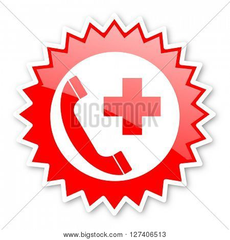 emergency call red tag, sticker, label, star, stamp, banner, advertising, badge, emblem, web icon