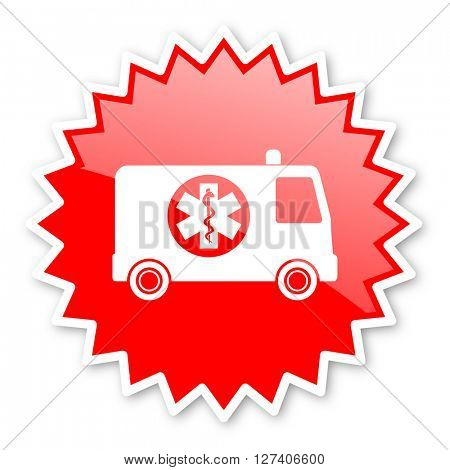 ambulance red tag, sticker, label, star, stamp, banner, advertising, badge, emblem, web icon