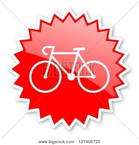 bicycle red tag, sticker, label, star, stamp, banner, advertising, badge, emblem, web icon