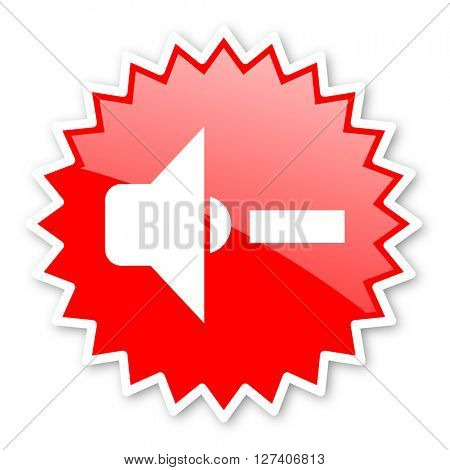 speaker volume red tag, sticker, label, star, stamp, banner, advertising, badge, emblem, web icon