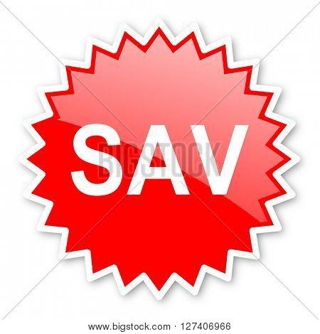 sav red tag, sticker, label, star, stamp, banner, advertising, badge, emblem, web icon