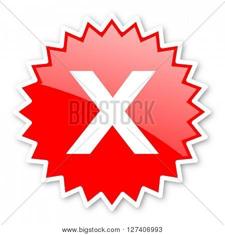 cancel red tag, sticker, label, star, stamp, banner, advertising, badge, emblem, web icon