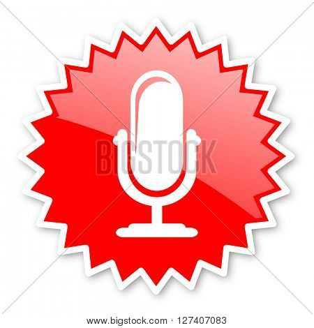 microphone red tag, sticker, label, star, stamp, banner, advertising, badge, emblem, web icon