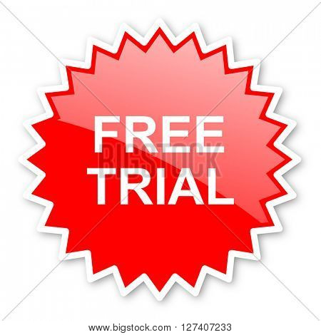 free trial red tag, sticker, label, star, stamp, banner, advertising, badge, emblem, web icon