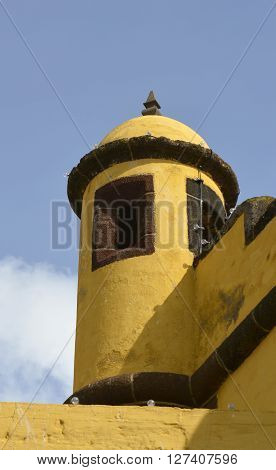 Turret on the Fortress of Saint Tiago (Forte de Sao Tiago) on the seafront at Funchal in Madeira Portugal