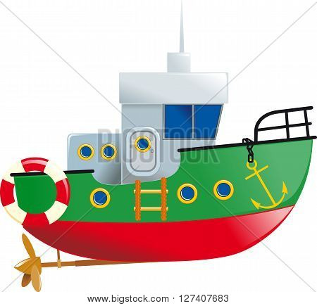 Cartoon small boat with lifeline and screw isolated on white background