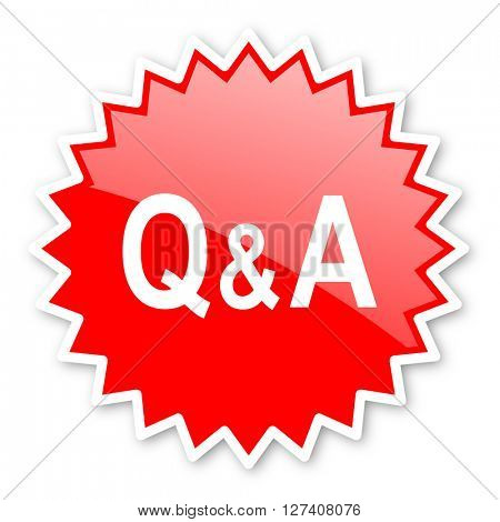 question answer red tag, sticker, label, star, stamp, banner, advertising, badge, emblem, web icon