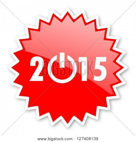 new year 2015 red tag, sticker, label, star, stamp, banner, advertising, badge, emblem, web icon