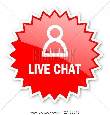 live chat red tag, sticker, label, star, stamp, banner, advertising, badge, emblem, web icon
