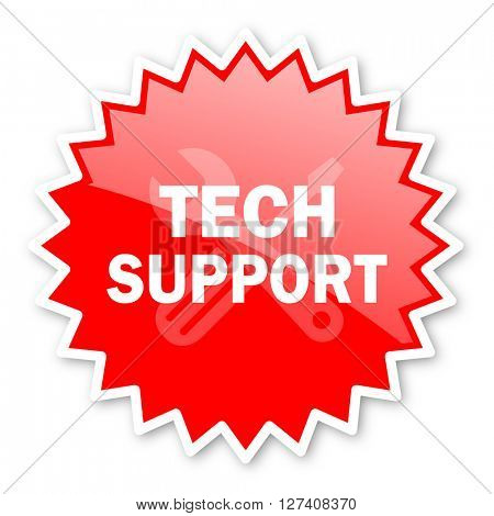 technical support red tag, sticker, label, star, stamp, banner, advertising, badge, emblem, web icon