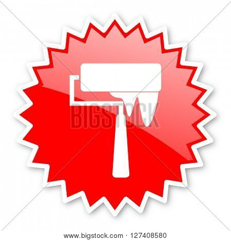 brush red tag, sticker, label, star, stamp, banner, advertising, badge, emblem, web icon
