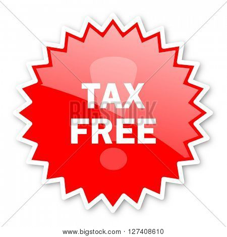 tax free red tag, sticker, label, star, stamp, banner, advertising, badge, emblem, web icon