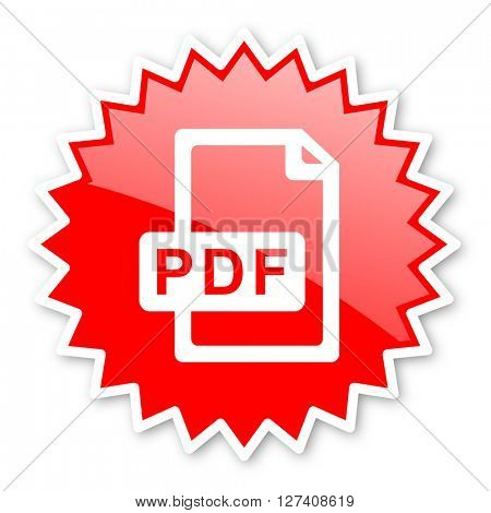 pdf file red tag, sticker, label, star, stamp, banner, advertising, badge, emblem, web icon